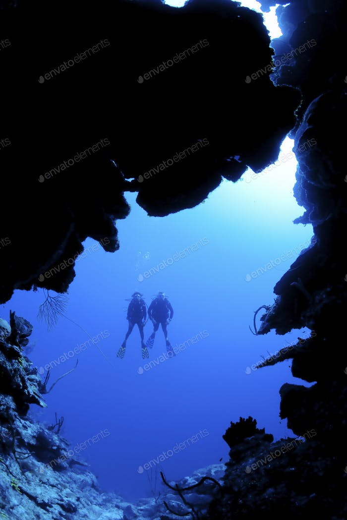 Scuba diving along North Wall, Grand Cayman Dive site known as Mainstreet