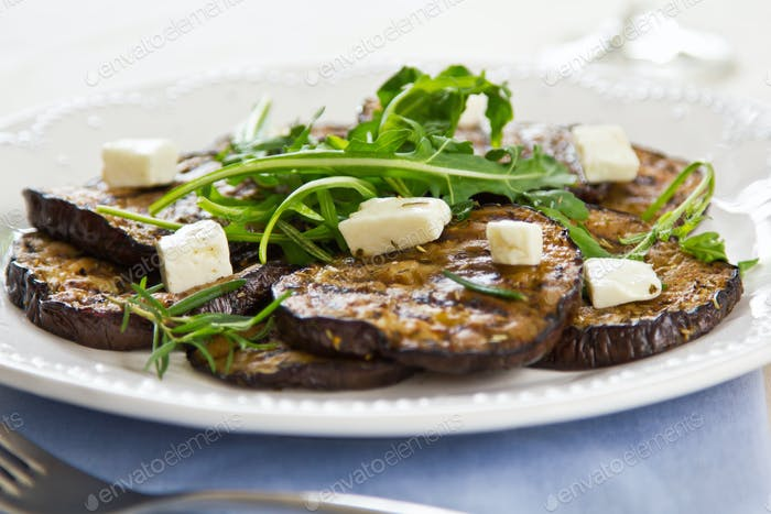 Grilled aubergine with Feta cheese salad