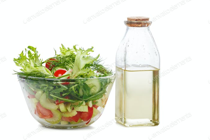 Bowl of salad  and olive oil