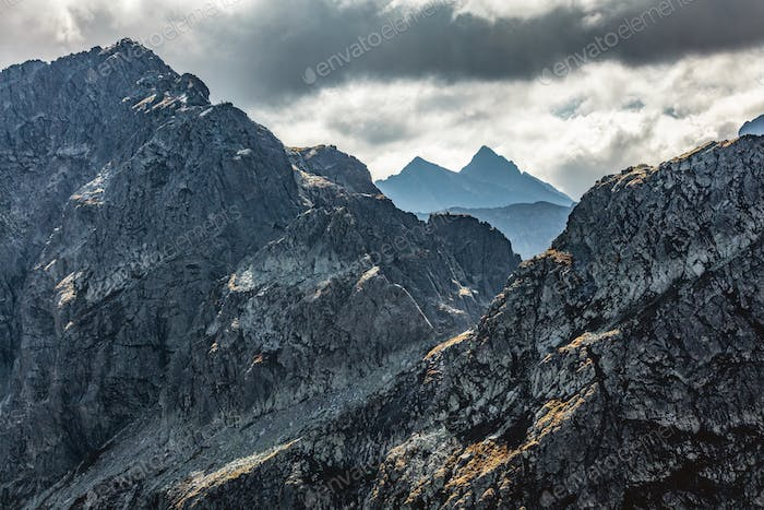 High mountain peaks. Tatra Mountains in Poland. View from Koscielec