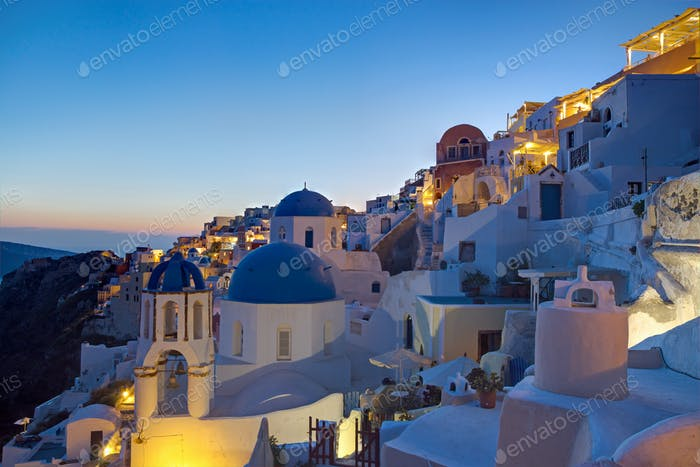 Oia village at dawn