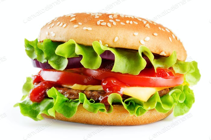 Meat Burger with salad, cheese, tomato and ketchup sauce