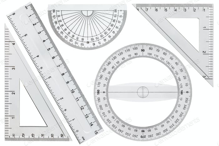 Set of drawing tools, ruler, protractor triangle, isolated on wh