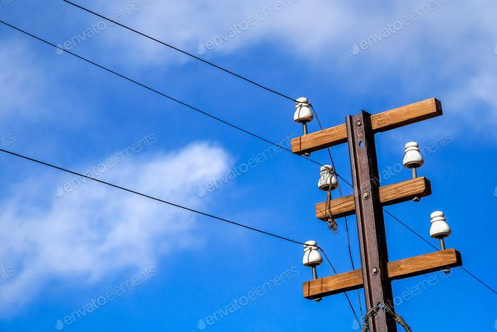 Wooden electric pole