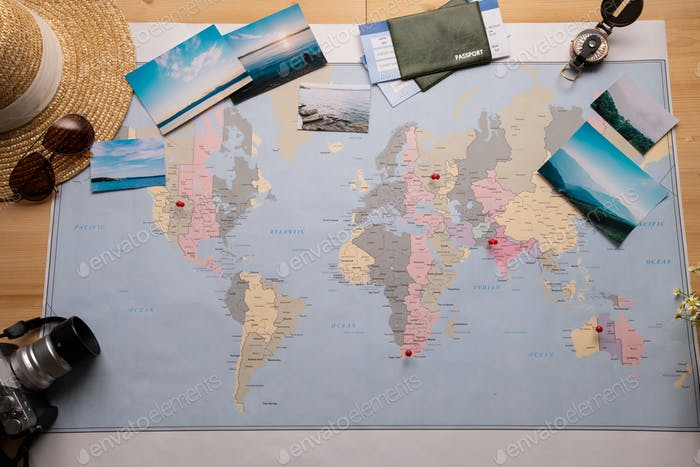 Paper map with pins