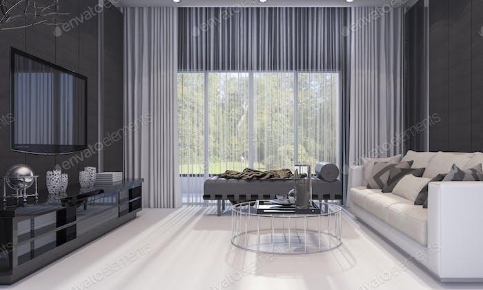 3d rendering nice modern design luxury living room  with grey sofa and tv shelf