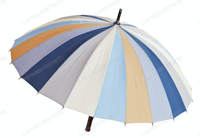 above view of open striped multicolored umbrella