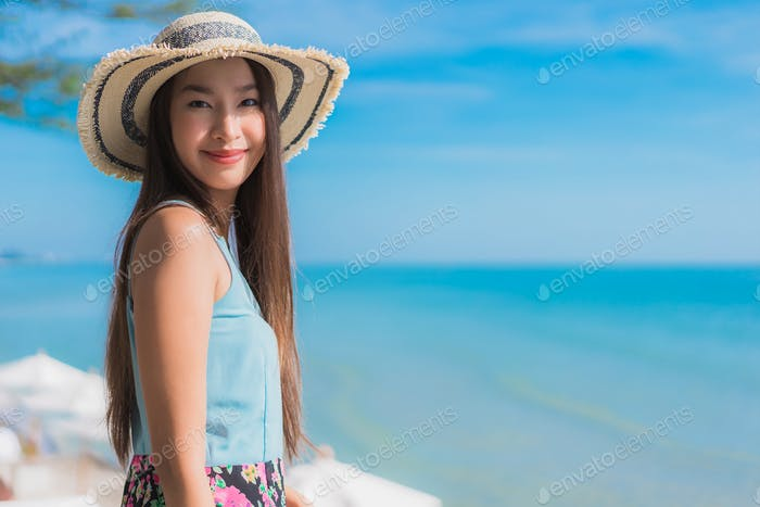 Portrait beautiful young asian woman happy smile relax around be