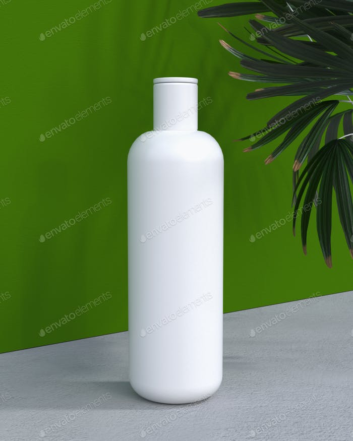natural cosmetic cream or shampoo, serum, skincare blank bottle packaging with leaves herb. bio