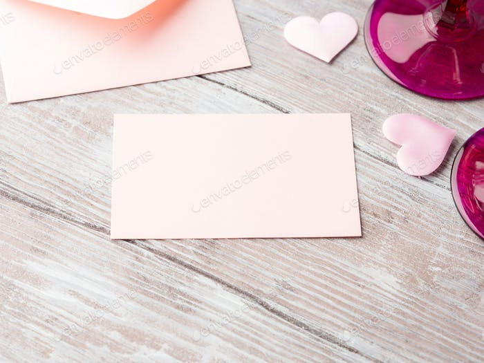 Blank pink paper letter note with hearts valentine card