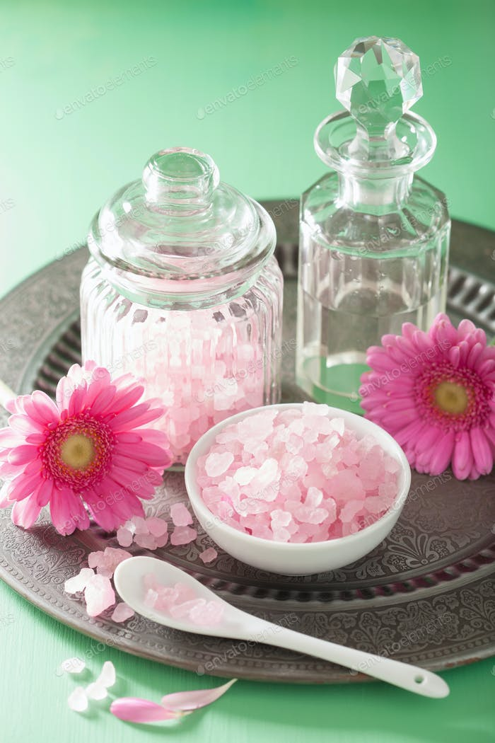 Thumbnail for spa aromatherapy with pink salt gerbera flowers