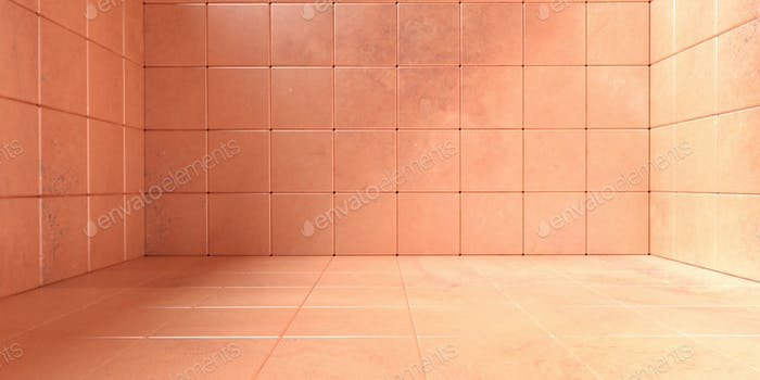 Empty room, floor and walls tiled pattern, Stone orange color background texture. 3d illustration