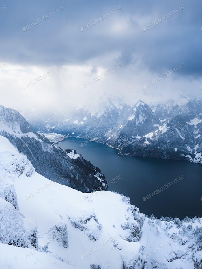 Winterwonderland Mountains with a Lake in Switzerland