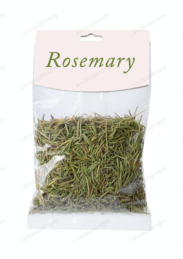 Plastic bag of dried rosemary