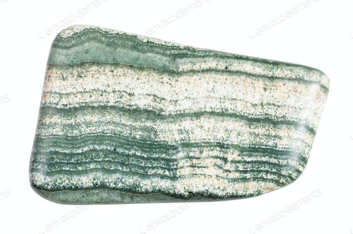 tumbled Skarn rock isolated on white