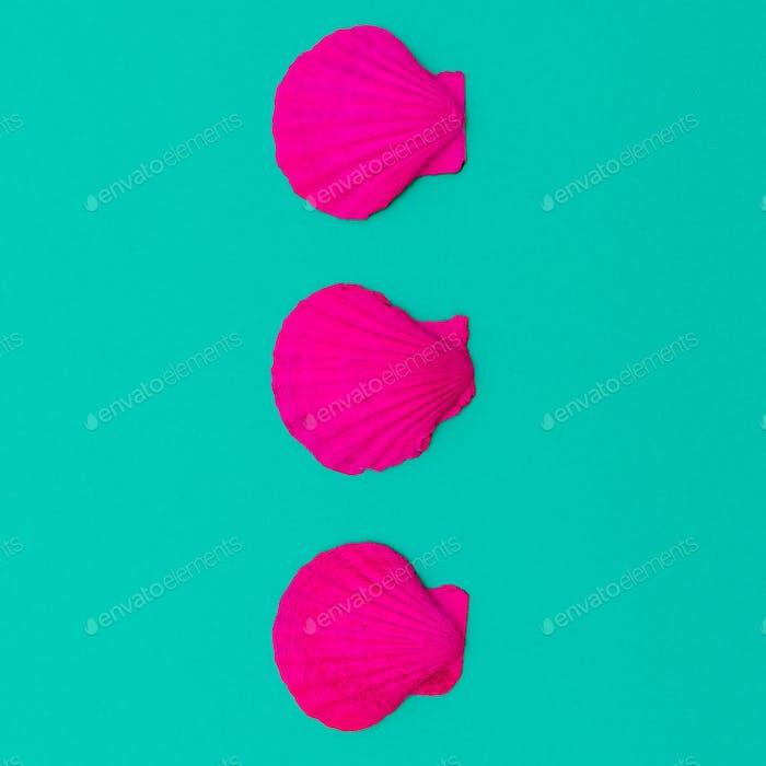 Rosa Neonschalen. Minimales Design