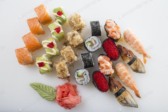 Delicious sushi rolls set.