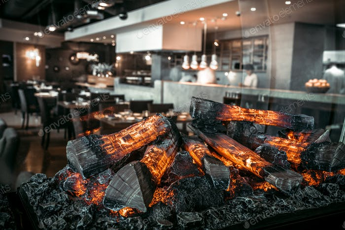 Modern restaurant with fireplace