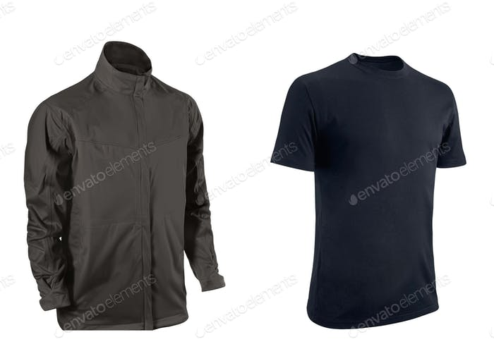 Black Tshirt and jacket on a white background.