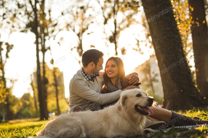 Couple with a dog