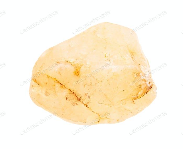 gerollter gelber Calcit Stein isoliert auf weiß