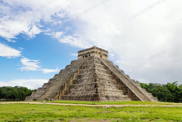 The Mayan pyramid in Chichen Itza Mexico.
