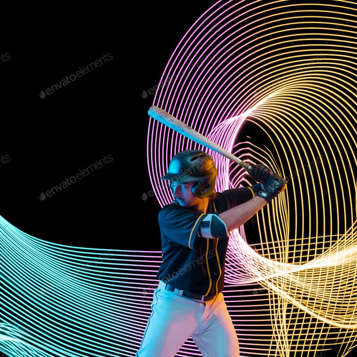 Creative sport and neon waves on dark neon lighted line background
