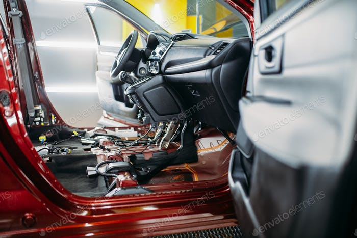 Car tuning, disassembled vehicle interior, nobody