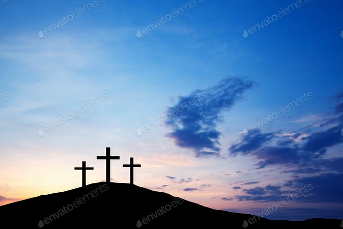 Three cross on the hill, Jesus Christ from the Bible. Easter, Religion. Salvation of sins, sacrifice