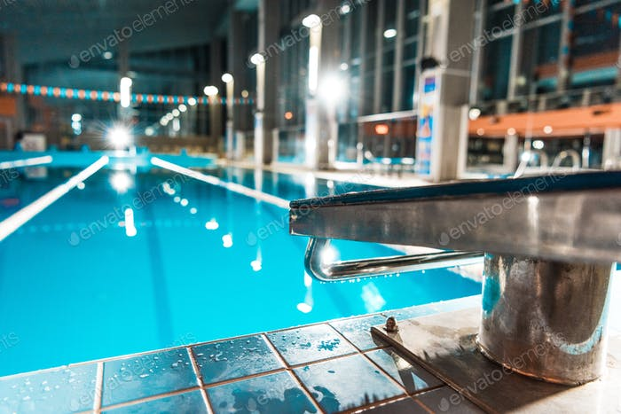 diving board at competition swimming pool