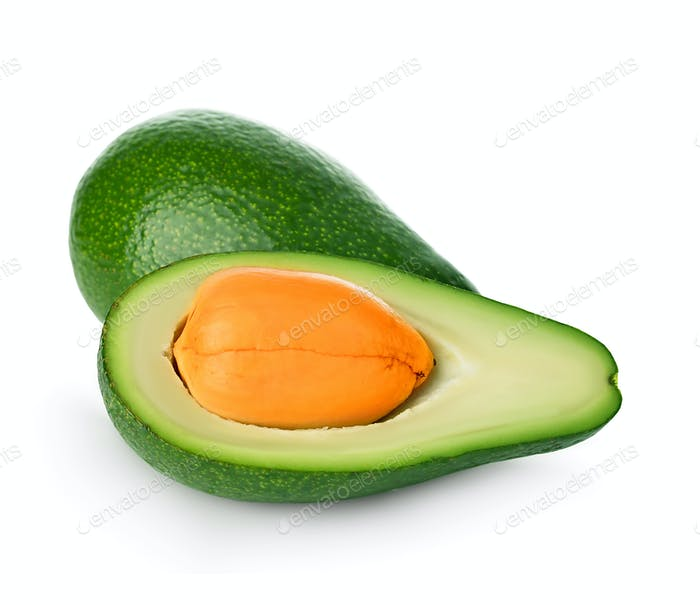 Fresh avocado closeup isolated on white background . Ripe fresh green avocado.