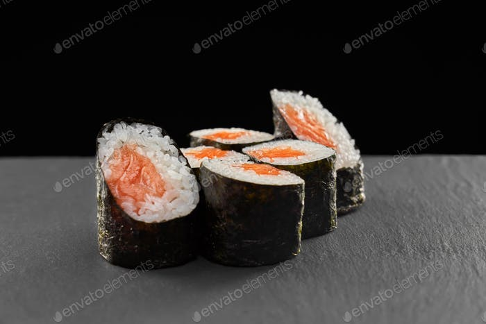 Sake maki sushi rolls with salmon