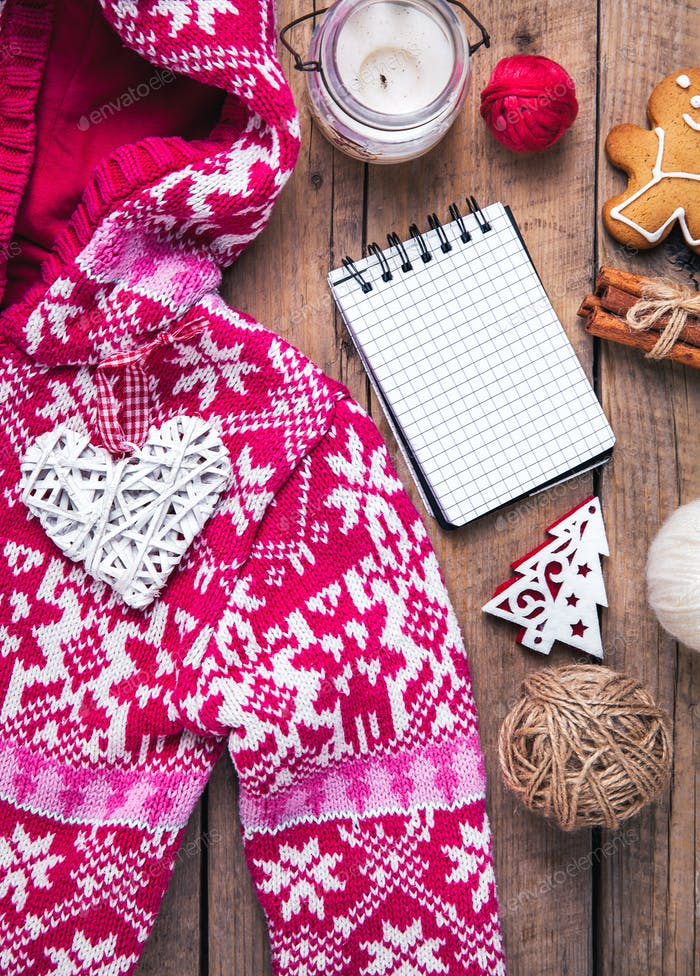Christmas set. Warm blanket, sweater, candle, notebook
