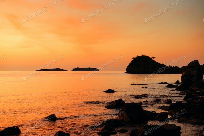 orange sunset over the sea
