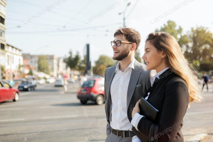 Business people walking in city
