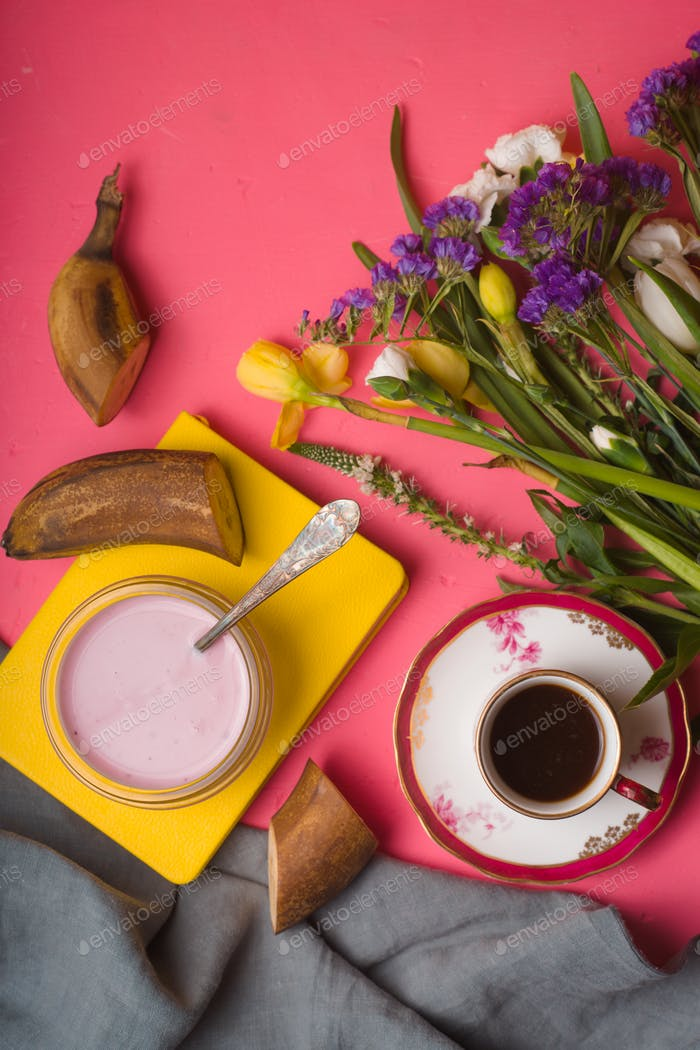 Spring breakfast on the pink background  vertical