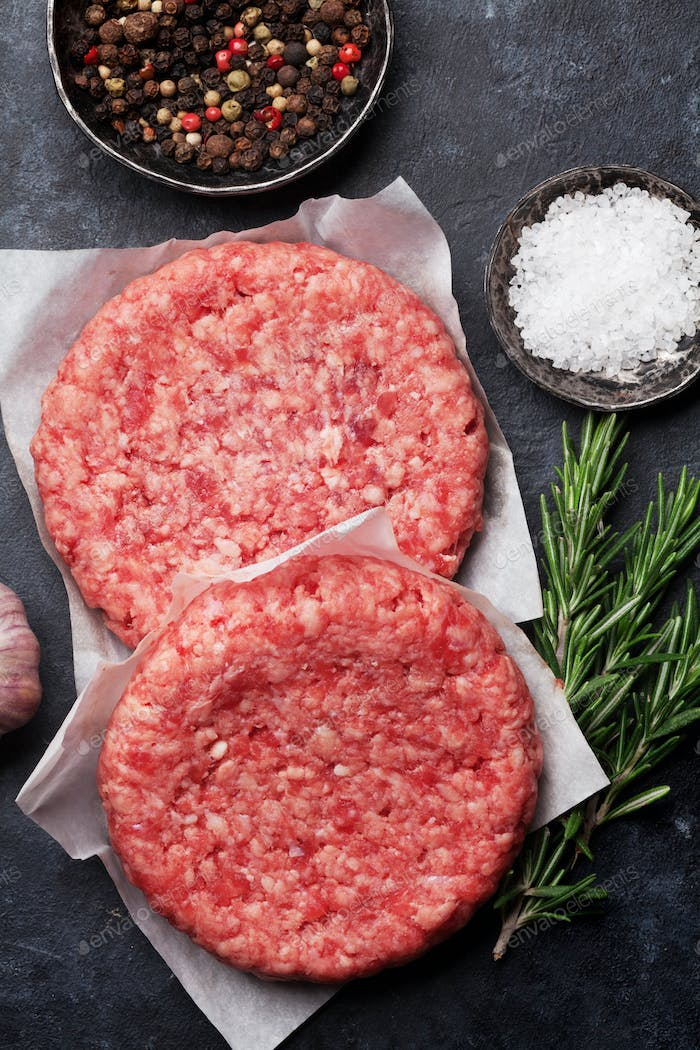 Raw minced beef meat for home made burgers