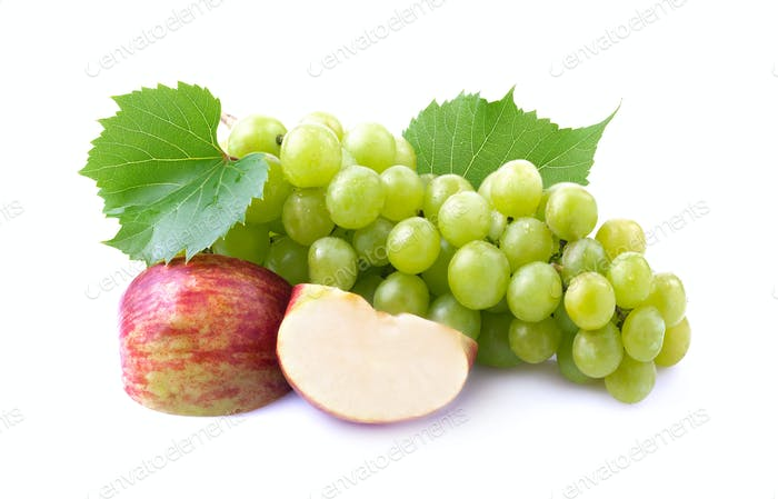 Ripe grapes and apple
