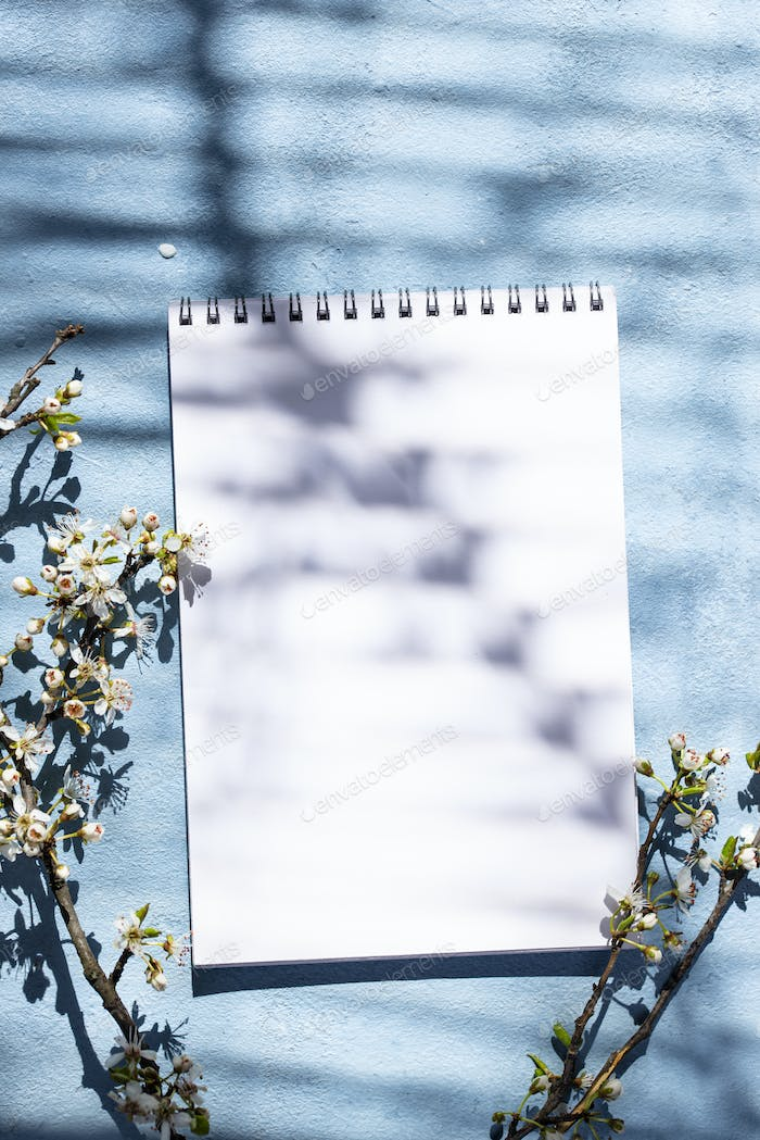 Empty notebook with shadow of a blooming tree