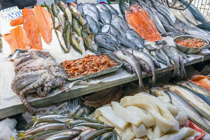 Fish and seafood at a market in Santiago