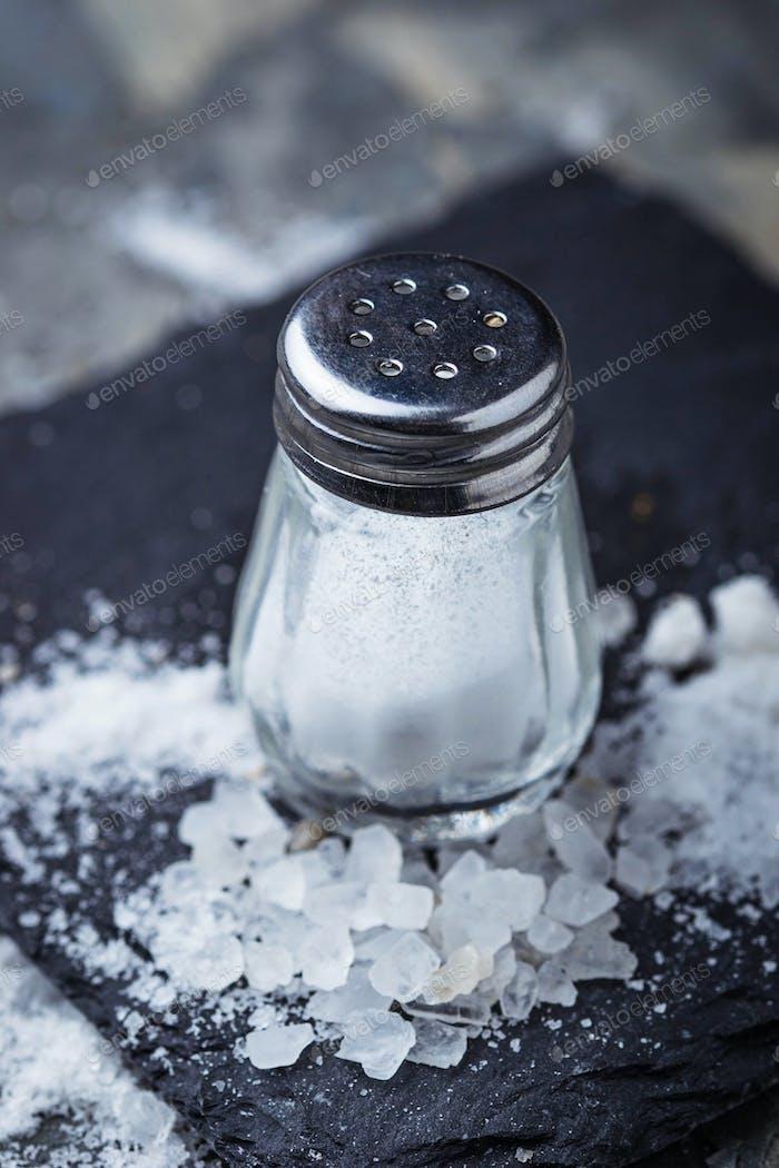 White salt in shaker