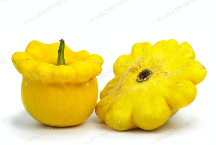 Two scallop squash vegetables