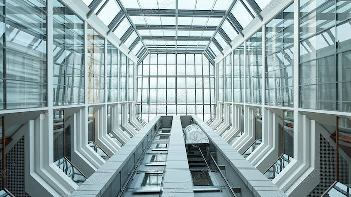 Part of interior of contemporary business center with elevator moving upwards