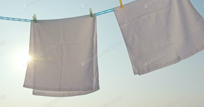 Towel dry under sunlight at outdoor
