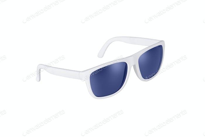 White sunglasses isolated on white