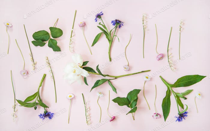Flat-lay of lily of the valley, cornflower, daisy and peony garden flowers