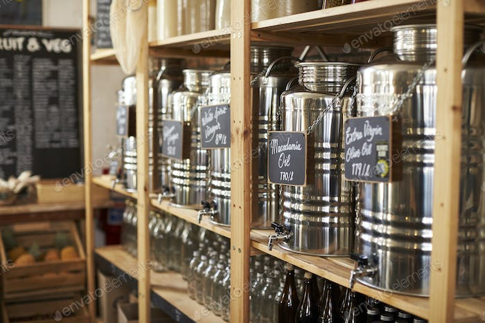 Dispensers For Oil And Vinegar In Sustainable Plastic Free Grocery Store