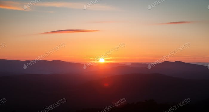 Colorful sunset over the mountain