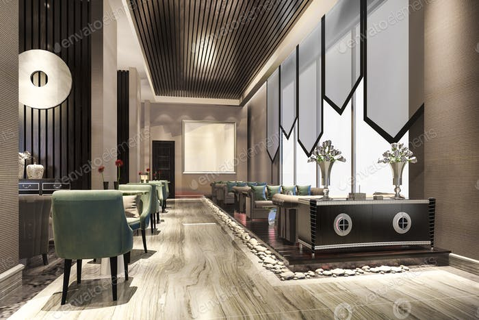 3d rendering luxury hotel reception hall and lobby reception