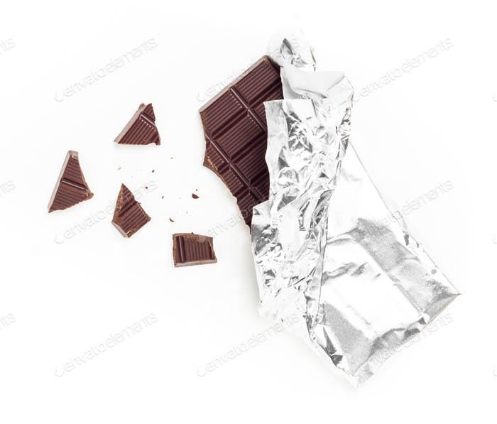 Chocolate Bar Tablet Wrapped in Aluminum Foil